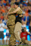 Chief Warrant Officer Kristian Denkins surprises his family as he returned from Afghanistan, as the Gators knock off the #3 ranked Ole Miss Rebels 38-10 at home.  Florida Gators vs Ole Miss Rebels.  October 3rd, 2015. Gator Country photo by David Bowie.