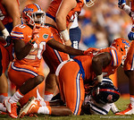 Florida Gators defensive back Marcus Maye singles no-no as the Gators stop the Rebels on a goal line stand in the second half, as the Gators knock off the #3 ranked Ole Miss Rebels 38-10 at home.  Florida Gators vs Ole Miss Rebels.  October 3rd, 2015. Gator Country photo by David Bowie.