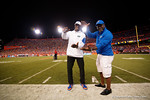 Former Florida Gators Emmitt Smith and Titus O'Neil pose for the camera, as the Gators knock off the #3 ranked Ole Miss Rebels 38-10 at home.  Florida Gators vs Ole Miss Rebels.  October 3rd, 2015. Gator Country photo by David Bowie.