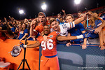 Florida Gators defensive end Cece Jefferson celebrates the win over the #3 ranked Ole Miss Rebels 38-10 at home with a few fans.  Florida Gators vs Ole Miss Rebels.  October 3rd, 2015. Gator Country photo by David Bowie.