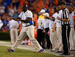 Florida Gators defensive line coach Chris Rumph yells in his orders in the second half, as the Gators knock off the #3 ranked Ole Miss Rebels 38-10 at home.  Florida Gators vs Ole Miss Rebels.  October 3rd, 2015. Gator Country photo by David Bowie.