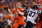 Florida Gators quarterback Will Grier throws downfield in the first half, as the Gators knock off the #3 ranked Ole Miss Rebels 38-10 at home.  Florida Gators vs Ole Miss Rebels.  October 3rd, 2015. Gator Country photo by David Bowie.