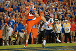 Florida Gators tight end Jake McGee catches the pass from Will Grier for a touchdown to put the Gators up 13-0, as the Gators knock off the #3 ranked Ole Miss Rebels 38-10 at home.  Florida Gators vs Ole Miss Rebels.  October 3rd, 2015. Gator Country photo by David Bowie.