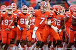 Florida Gators quarterback Will Grier leads the team onto the field for pregame warm-up as the Gators knock off the #3 ranked Ole Miss Rebels 38-10 at home.  Florida Gators vs Ole Miss Rebels.  October 3rd, 2015. Gator Country photo by David Bowie.