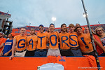 Gator fans spell out their favorite team as the Gators knock off the #3 ranked Ole Miss Rebels 38-10 at home.  Florida Gators vs Ole Miss Rebels.  October 3rd, 2015. Gator Country photo by David Bowie.