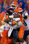 Florida Gators defensive end Alex McCalister sacks Ole Miss quarterback Chad Kelly leading to a fumble recovery by Florida Gators defensive end Cece Jefferson during the second half, as the Gators knock off the #3 ranked Ole Miss Rebels 38-10 at home.  Florida Gators vs Ole Miss Rebels.  October 3rd, 2015. Gator Country photo by David Bowie.