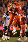 Florida Gators defensive end Alex McCalister celebrates a sack in the second half, as the Gators knock off the #3 ranked Ole Miss Rebels 38-10 at home.  Florida Gators vs Ole Miss Rebels.  October 3rd, 2015. Gator Country photo by David Bowie.