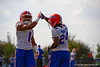 Florida Gators defensive back Vernon Hargreaves, III gets a high five from Florida Gators defensive back Brian Poole after breaking up a pass.  Florida Gators Spring Practice.  March 18th, 2016. Gator Country photo by David Bowie.