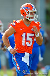 Florida Gators quarterback Jacob Guy jogging during practice.  Florida Gators Spring Practice.  March 18th, 2016. Gator Country photo by David Bowie.