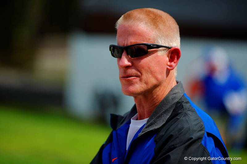 Florida Gators Director of strength & Conditioning, Mike Kent, looks on during spring practice.  Florida Gators Spring Practice.  March 18th, 2016. Gator Country photo by David Bowie.