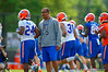 Florida Gators wide receivers coach Kerry Dixon II warms up the Gators for spring practice.  Florida Gators Spring Practice.  March 18th, 2016. Gator Country photo by David Bowie.