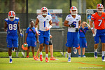 Florida Gators wide receiver Alvin Bailey, defensive back Vernon Hargreaves, III, defensive back Quincey Wilson and quarterback Will Grier stretch out for spring practice.  Florida Gators Spring Practice.  March 18th, 2016. Gator Country photo by David Bowie.