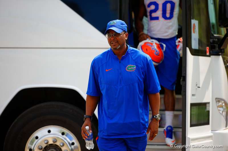 The Florida Gators arrive at Dizney Plaza for spring practice.  Florida Gators Spring Practice.  March 18th, 2016. Gator Country photo by David Bowie.
