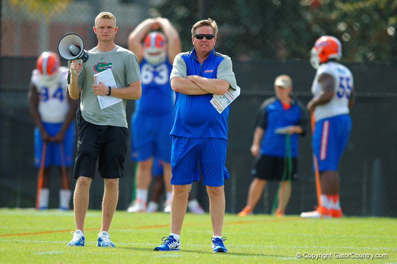 Florida Gators head coach Jim McElwain watches on as spring practice continues.  Florida Gators Spring Practice.  March 18th, 2016. Gator Country photo by David Bowie.