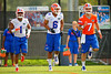 Florida Gators defensive back Vernon Hargreaves, III, defensive back Quincey Wilson and quarterback Will Grier stretch out for spring practice.  Florida Gators Spring Practice.  March 18th, 2016. Gator Country photo by David Bowie.