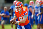 Florida Gators quarterback Skyler Mornhinweg turns to hand off the ball.  Florida Gators Spring Practice.  March 18th, 2016. Gator Country photo by David Bowie.