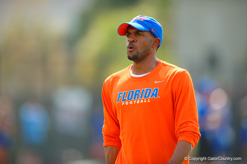 Florida Gators wide receivers coach Kerry Dixon II works with the wide receivers during practice.  Florida Gators Spring Practice.  March 18th, 2016. Gator Country photo by David Bowie.