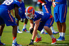 Florida Gators tight end Jake McGee lines up during a blocking drill.  Florida Gators Spring Practice.  March 18th, 2016. Gator Country photo by David Bowie.