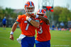 Florida Gators quarterback Will Grier grips the ball tight as Florida Gators quarterback Treon Harris tries to strip away the ball during a fumble drill.  Florida Gators running back Kelvin Taylor Florida Gators Spring Practice.  March 18th, 2016. Gator Country photo by David Bowie.