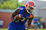 Florida Gators wide receiver Latroy Pittman rushes with the ball after making a catch during a passing drill.  Florida Gators Spring Practice.  March 18th, 2016. Gator Country photo by David Bowie.