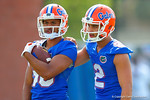 Florida Gators wide receivers Valdez Showers and Ryan Sousa work together during a practice drill.  Florida Gators Spring Practice.  March 18th, 2016. Gator Country photo by David Bowie.