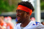 Florida Gators defensive end Alex McCalister waits for spring practice to start.  Florida Gators Spring Practice.  March 18th, 2016. Gator Country photo by David Bowie.