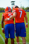 Florida Gators quarterbacks Treon Harris and Will Grier work together during practice drills.   Florida Gators Spring Practice.  March 18th, 2016. Gator Country photo by David Bowie.