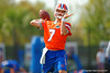 Florida Gators quarterback Will Grier throwing during a passing drill.  Florida Gators Spring Practice.  March 18th, 2016. Gator Country photo by David Bowie.