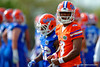 Florida Gators quarterback Treon Harris calls a play during a practice drill.  Florida Gators Spring Practice.  March 18th, 2016. Gator Country photo by David Bowie.