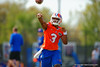 Florida Gators quarterback Treon Harris throwing during a passing drill.  Florida Gators Spring Practice.  March 18th, 2016. Gator Country photo by David Bowie.