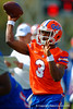 Florida Gators quarterback Treon Harris throws downfield during a practice drill.  Florida Gators Spring Practice.  March 18th, 2016. Gator Country photo by David Bowie.