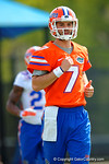Florida Gators quarterback Will Grier jogging during warm up drills to start soring practice.  Florida Gators Spring Practice.  March 18th, 2016. Gator Country photo by David Bowie.