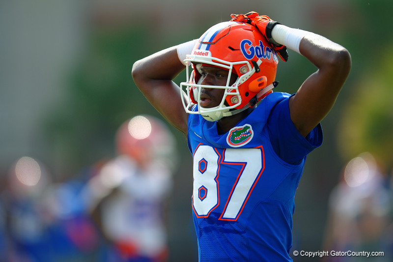 Florida Gators freshman wide receiver Kalif Jackson catches some air after running a practice drill.  Florida Gators Spring Practice.  March 18th, 2016. Gator Country photo by David Bowie.