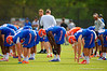 The Florida Gators stretch to start off spring football practice.  Florida Gators Spring Practice.  March 18th, 2016. Gator Country photo by David Bowie.