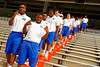 Florida Gators wide receiver Alvin Bailey and Florida Gators running back Kelvin Taylor pose for the camera during Gator Walk as they walk into the stadium.  2015 Orange and Blue Debut.  April 11th 2015. Gator Country photo by David Bowie.