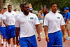 Florida Gators defensive back Brian Poole and the Florida Gators march into the stadium for the Orange and Blue Debut during Gator Walk.  2015 Orange and Blue Debut.  April 11th 2015. Gator Country photo by David Bowie.