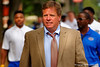 Florida Gators head coach Jim McElwain walks down University Avenue toward Ben Hill Griffin Stadium during Gator Walk.  2015 Orange and Blue Debut. April 11th 2015. Gator Country photo by David Bowie.