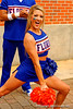The Gator cheerleaders cheer on the Gators as they enter the stadium.  2015 Orange and Blue Debut.  April 11th 2015. Gator Country photo by David Bowie.