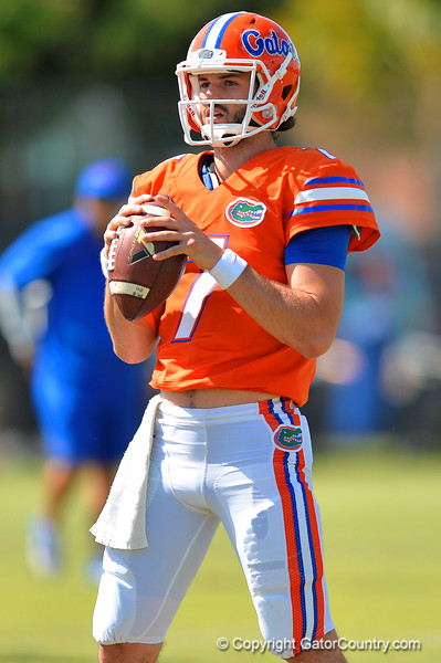 Florida Gators quarterback Will Grier during football spring practice.  Florida Gators Football Spring Practice.  March 25th, 2016. Gator Country photo by David Bowie.