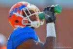 Florida Gators wide receiver Demarcus Robinson takes a water break during football spring practice.  Florida Gators Football Spring Practice.  March 25th, 2016. Gator Country photo by David Bowie.