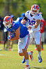 Florida Gators wide receiver C.J. Worton breaks free from defensive back Michael Iorio during football spring practice.  Florida Gators Football Spring Practice.  March 25th, 2016. Gator Country photo by David Bowie.