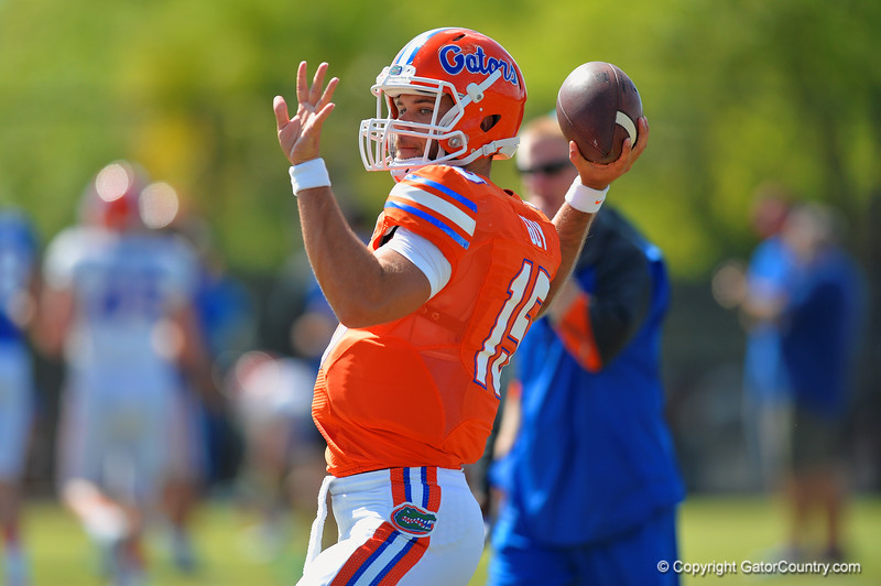 Florida Gators quarterback Jacob Guy throws downfield during football spring practice.  Florida Gators Football Spring Practice.  March 25th, 2016. Gator Country photo by David Bowie.