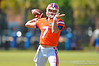 Florida Gators quarterback Will Grier throwing during football spring practice.  Florida Gators Football Spring Practice.  March 25th, 2016. Gator Country photo by David Bowie.
