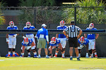 The offensive line run through drills during football spring practice.  Florida Gators Football Spring Practice.  March 25th, 2016. Gator Country photo by David Bowie.