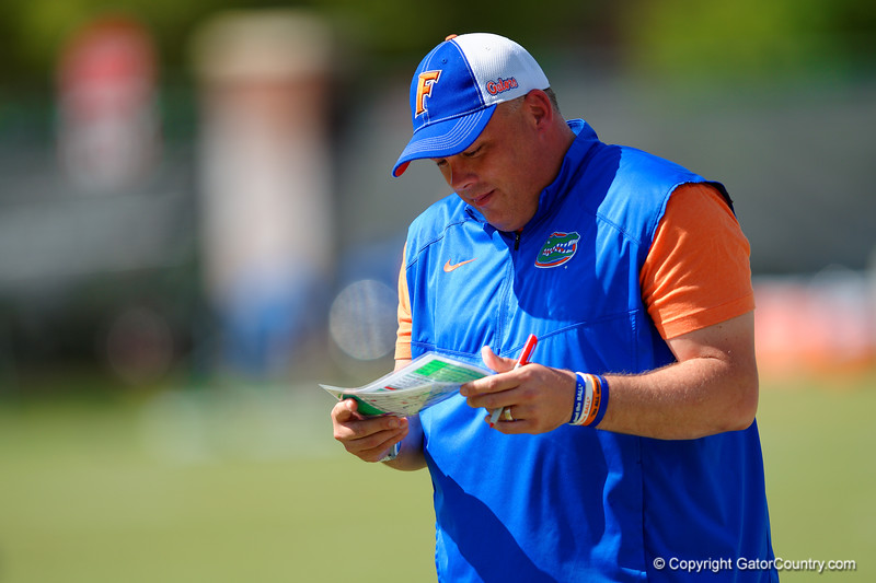 Florida Gators defensive coordinator Geoff Collins reading his play sheet as the team warms up.  Florida Gators Football Sixth Spring Practice.  March 25th, 2016. Gator Country photo by David Bowie.