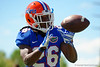 Florida Gators defensive back Marcell Harris leaps up and makes the catch during an interception drill.  Florida Gators Football Sixth Spring Practice.  March 25th, 2016. Gator Country photo by David Bowie.