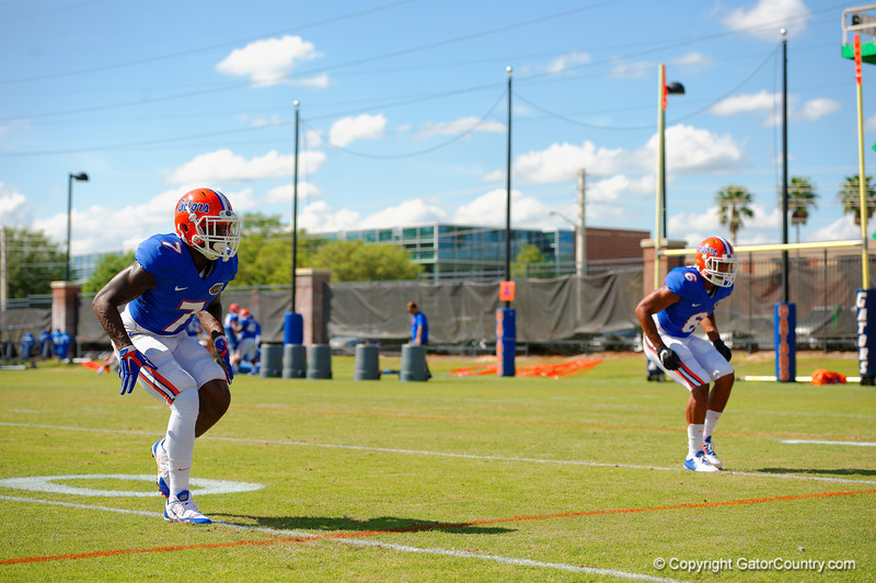 Florida Gators safeties Duke Dawson and Quincey Wilson drop back into coverage during a position drill.  Florida Gators Football Sixth Spring Practice.  March 25th, 2016. Gator Country photo by David Bowie.