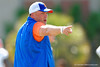 Florida Gators defensive coordinator Geoff Collins has a few choice select words for his defense during a position drill.  Florida Gators Football Sixth Spring Practice.  March 25th, 2016. Gator Country photo by David Bowie.