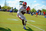 Florida Gators wide receiver Kalif Jackson makes the catch, turns and sprints downfield during a receiving drill.  Florida Gators Football Sixth Spring Practice.  March 25th, 2016. Gator Country photo by David Bowie.