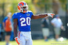 Florida Gators defensive back Marcus Maye points and calls out the receivers as they line up in front of him.  Florida Gators Football Sixth Spring Practice.  March 25th, 2016. Gator Country photo by David Bowie.